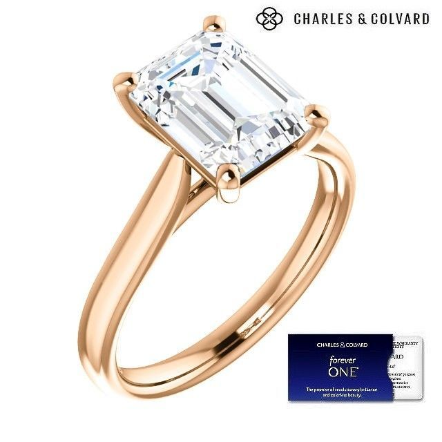 3.50 Carat Emerald Cut Forever One Moissanite Ring  in 14k Gold(Charles&Colvard)