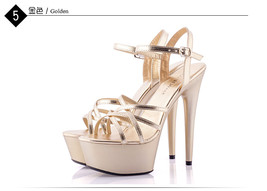ps360 awesome 15 cm strappy sandals, patent leather,US Size 4-9.5 gold - $48.80