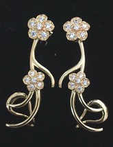 nOir Gold Pl. Cubic Zirconia Crystal Dorothea Flower Drop Dangle Stud Earrings