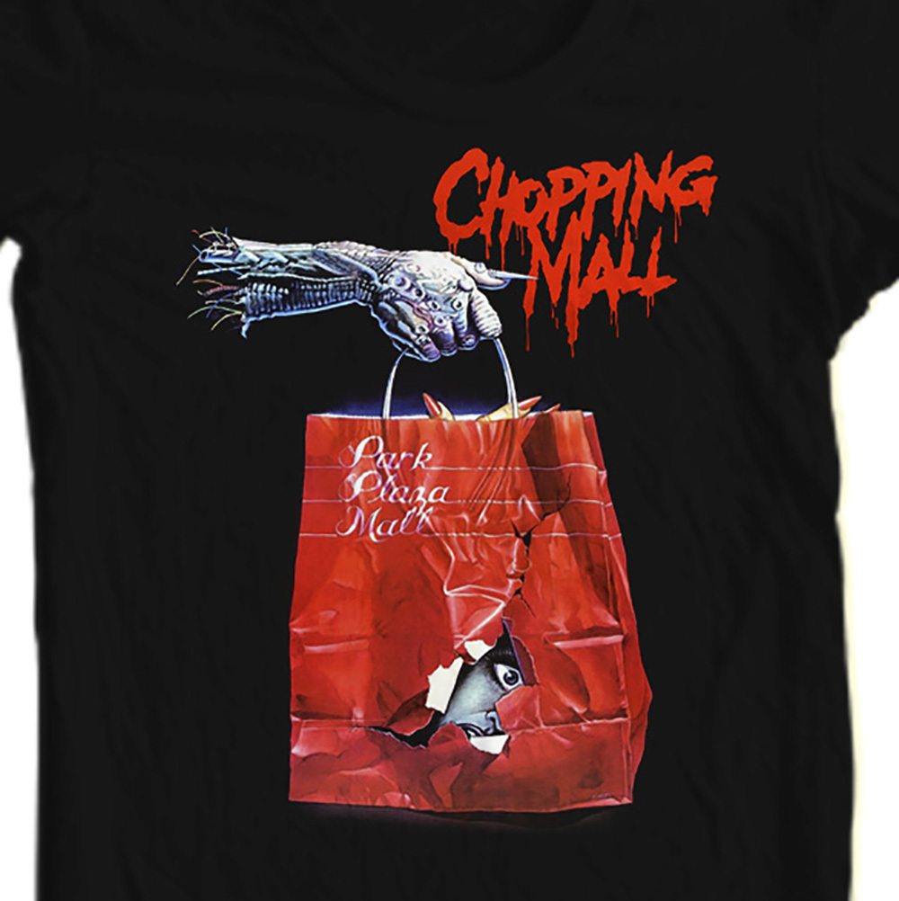 Chopping mall retro 80 s sci fi horror movie film t shirt for sale online tee shirt blk store