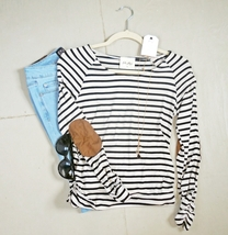 20% Off! Black and Oatmeal Striped Top, Black Striped Shirt, Shirred Striped Top