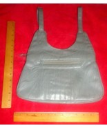 "Gray leather-look 12"" x 8"" x 6"" 2-strap 6-zip-pockets fully-lined purse ... - $7.91"