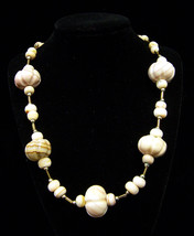 Vintage Small & Large Onyx Beaded Necklace With Gold Tone Chain Tan Brown  - $24.44