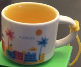 Starbucks 2015 Florida You Are Here Collection Mini Mug Ornament NEW IN BOX - $14.96