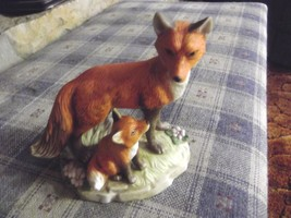 Homco 1417 Red Fox Mama and Baby Fox - $13.86