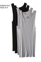 Hanes Mens 4 Pack Tank Top T-Shirts A-Shirt Ribbed Undershirt Tee Black ... - $21.58+
