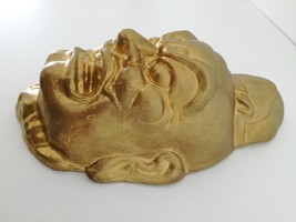 "Vintage or Antique Chinese plaster mask gold face 10"" image 2"