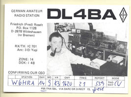 1983 Real Photo Postcard Germany Amateur Radio Oper QSL Fred Roselt DL4BA - $16.99