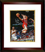 Steve Kerr signed Chicago Bulls Lay Up Action 16x20 Photo Custom Framed w/ 3 Pea - $168.95