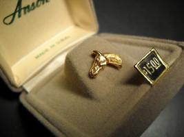 Anson Tie Tack Small Golden Horsehead Made in USA Original Presentation Box - $12.99
