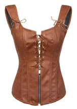 Brown Faux Leather Zip N Lacing Gothic Steampunk Waist Training Overbust Corset  - $51.72