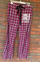 Victoria's Secret Small Sleep Pants Pink Black Buffalo Plaid Smile Bling Drawstr - $9.90