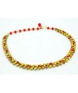 Coro Red Orange Yellow Enamel Leaf Bead Beaded Gold Tone Vintage - $19.79