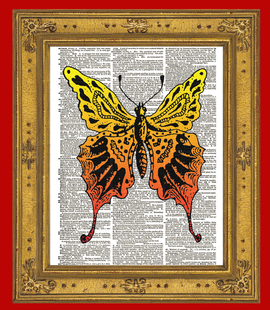 COLORFUL BUTTERFLY Yellow and Orange Vintage Dictionary Art Print No. 0138