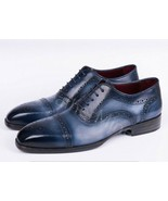 Handmade Men's Hand Patina blue color dress shoes, Patina finish shoes f... - $179.99