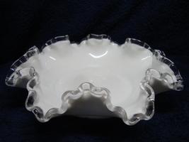 Fenton Glass silver crest milk glass ruffled finger bowl. - $15.00