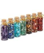 SUNYIK 7 Chakra Stone Wishing Bottles Set Of 7, Tumble Chip Crystal Hea... - $37.82