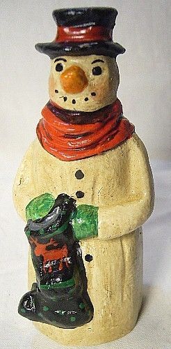 Vaillancourt Folk Art Snowmen w/ Stocking Signed b Judi