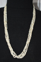 Cream Freshwater Pearl Multi-Strand Gold Tone Necklace Vintage - $34.64