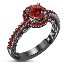 Women's Round Red Garnet Solitaire Engagement Wedding Ring 14K Black Gol... - $84.81