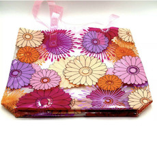 New! Clinique Flower Print PVC Beach Tote Bag Light weight~ Pink - $8.59