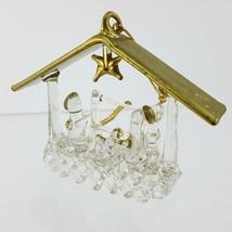 Glass Spun Crystal Clear Nativity Scene Christmas Ornament w/ Gold Mange... - $19.35