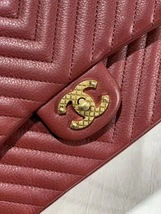 NEW AUTHENTIC CHANEL RED ROCK THE CORNER CHEVRON MEDIUM FLAP BAG GHW image 6