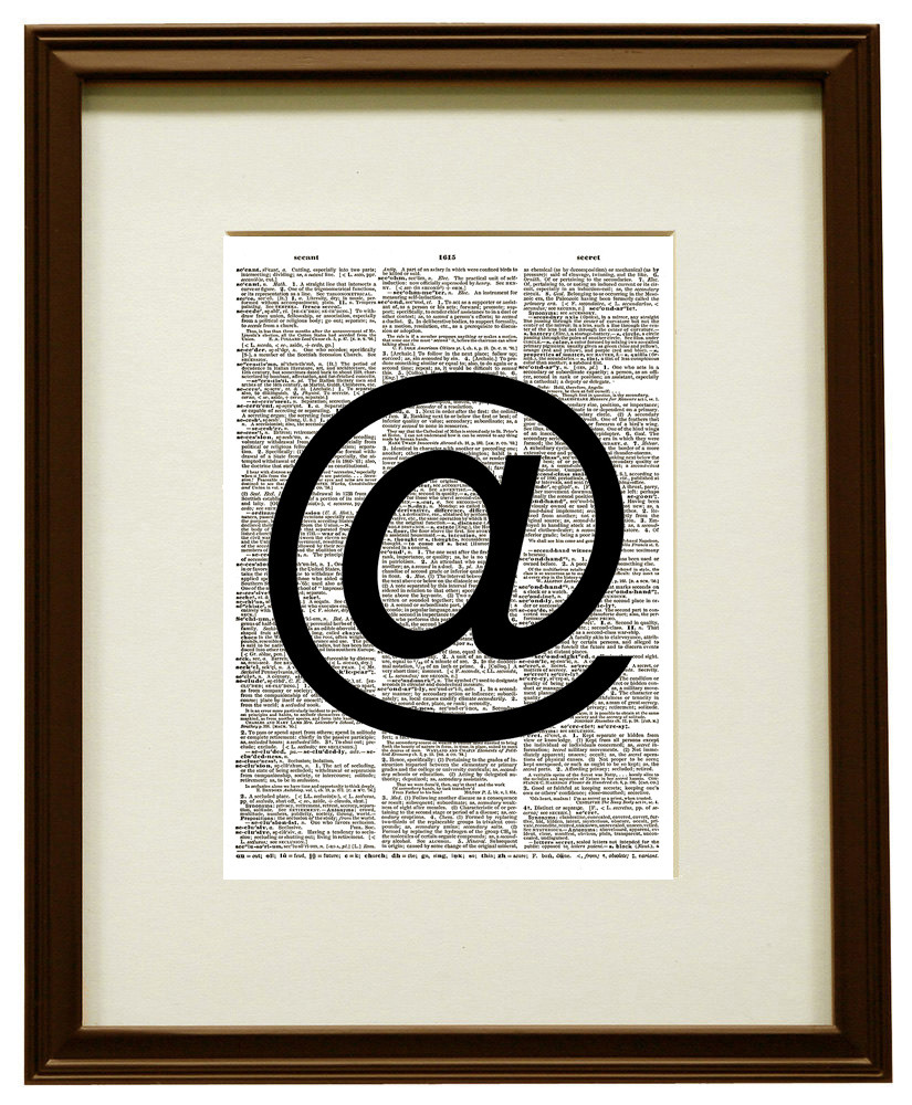 AT SYMBOL Black and White Art Vintage Dictionary Page Art Print No. 0143