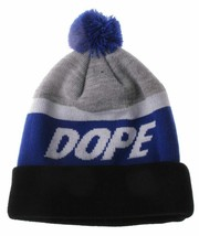 Dope Couture Black Blue and Grey Victory Pom Beanie Winter Hat NWT image 2