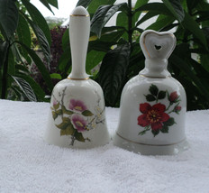 Two Porcelain China Bells Crown Staffordshire Tibet England Floral Oriental - $5.69