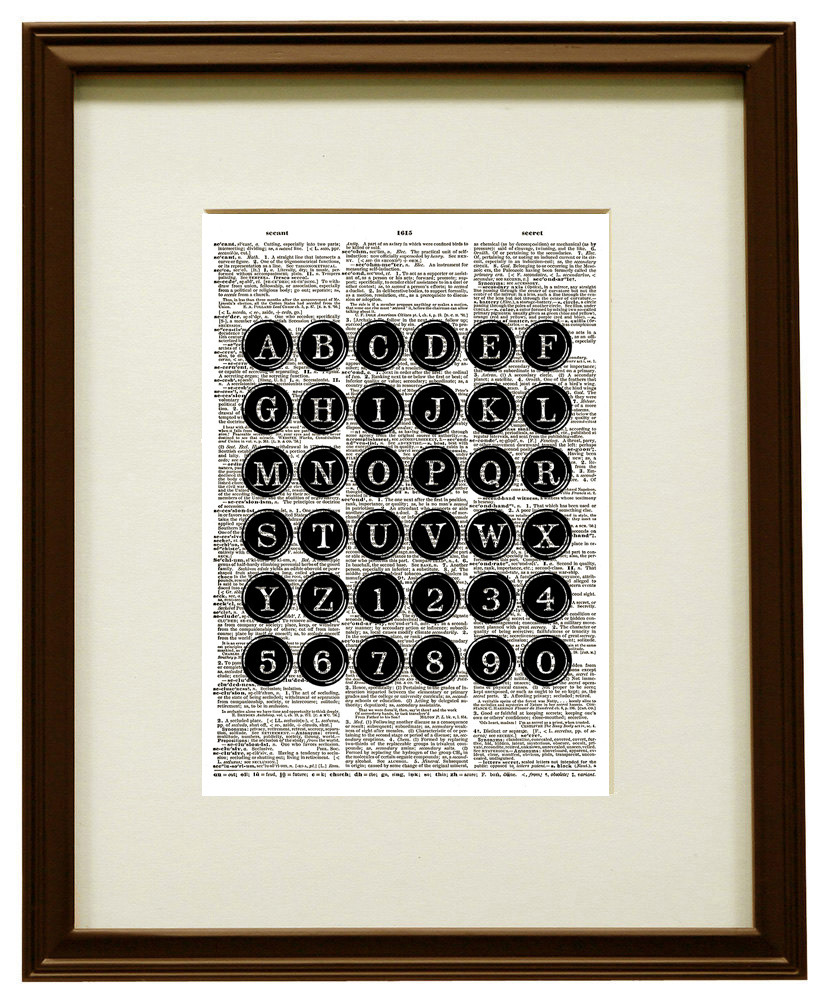 Antique TYPEWRITER KEYS Vintage Dictionary Page Art Print No. 0145