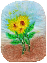 Sunflowers Outdoors: Quilted Art Wall Hanging - $245.00