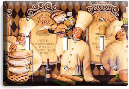 French Pastry Chefs Bread Bakery 3 Gang Light Switch Wall Plate Kitchen Hd Decor - $16.19