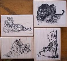 LOT 4 - ALL TIGERS new mounted rubber stamps - $35.00