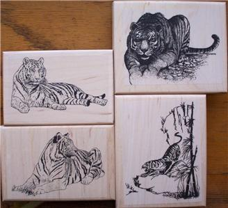 LOT 4 - ALL TIGERS new mounted rubber stamps