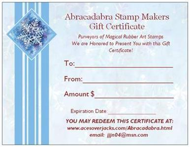 $60 GIFT CERTIFICATE in New Rubber Stamps for $50