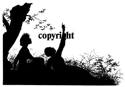 COUPLE POINTING AT THE SKY NEW mounted rubber stamp