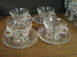 4 FOSTORIA COLONY CUPS & SAUCERS~~NICE~~listing lots of colony - $8.95