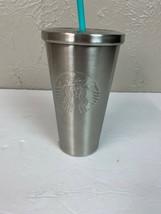 Starbucks Stainless Embossed Logo Tumbler silver siren mermaid straw - $18.65