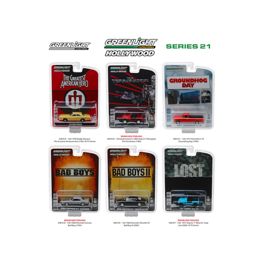 Hollywood Series / Release 21, 6 piece Set 1/64 Diecast Model Cars by Greenlight
