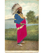Indian Chief In Silk Robe vintage 1906 Post Card - $20.00