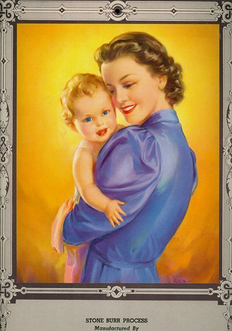 1951 Calendar of a Beautiful Mother with Baby embossed