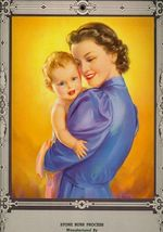 1951 Calendar of a Beautiful Mother with Baby embossed  - $6.00