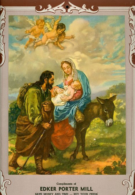 Vintage 1950 Calendar Hintermeister print Holy Family