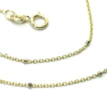 """18K YELLOW & WHITE GOLD CHAIN MINI THIN ROLO 1mm ALTERNATE FACETED CUBES 16"""" image 2"""