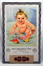 1950 Belks Dept Store Calendar - Baby in Bath embossed - $3.60