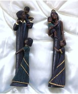 Two African American Figurines Mom and Dad with Children - $19.95