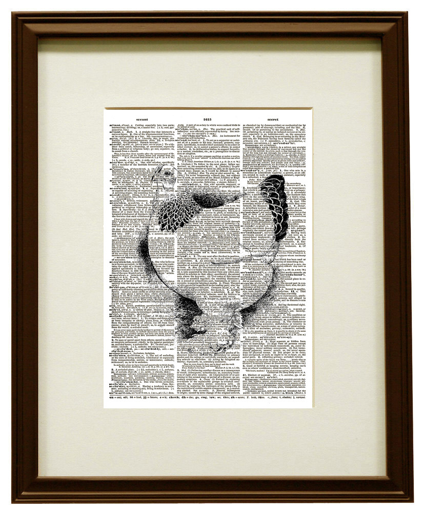 Pretty French Chicken Farm Animal Vintage Dictionary Page Art Print No. 0159