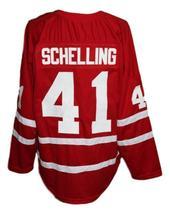 Custom Name # Switzerland Retro Hockey Jersey New Red Schelling #41 Any Size image 4