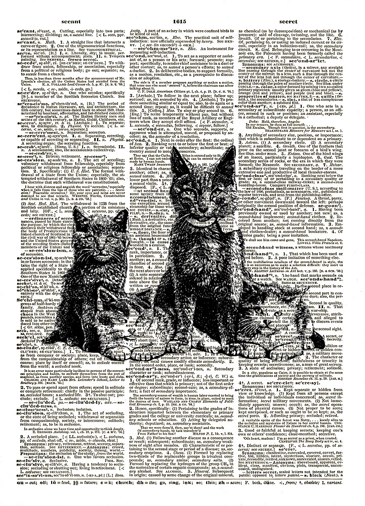 Kittens and Mama Cat Animals Vintage Dictionary Page Art Print No. 0163